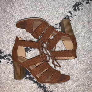 Faux suede strapped heel sandal